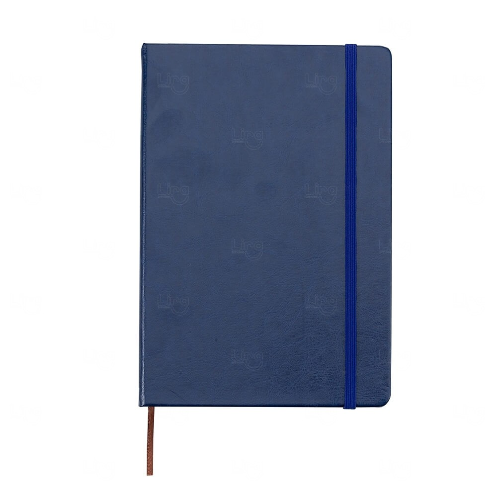 Caderneta Tipo Moleskine de Couro Sintético Personalizada Azul Marinho