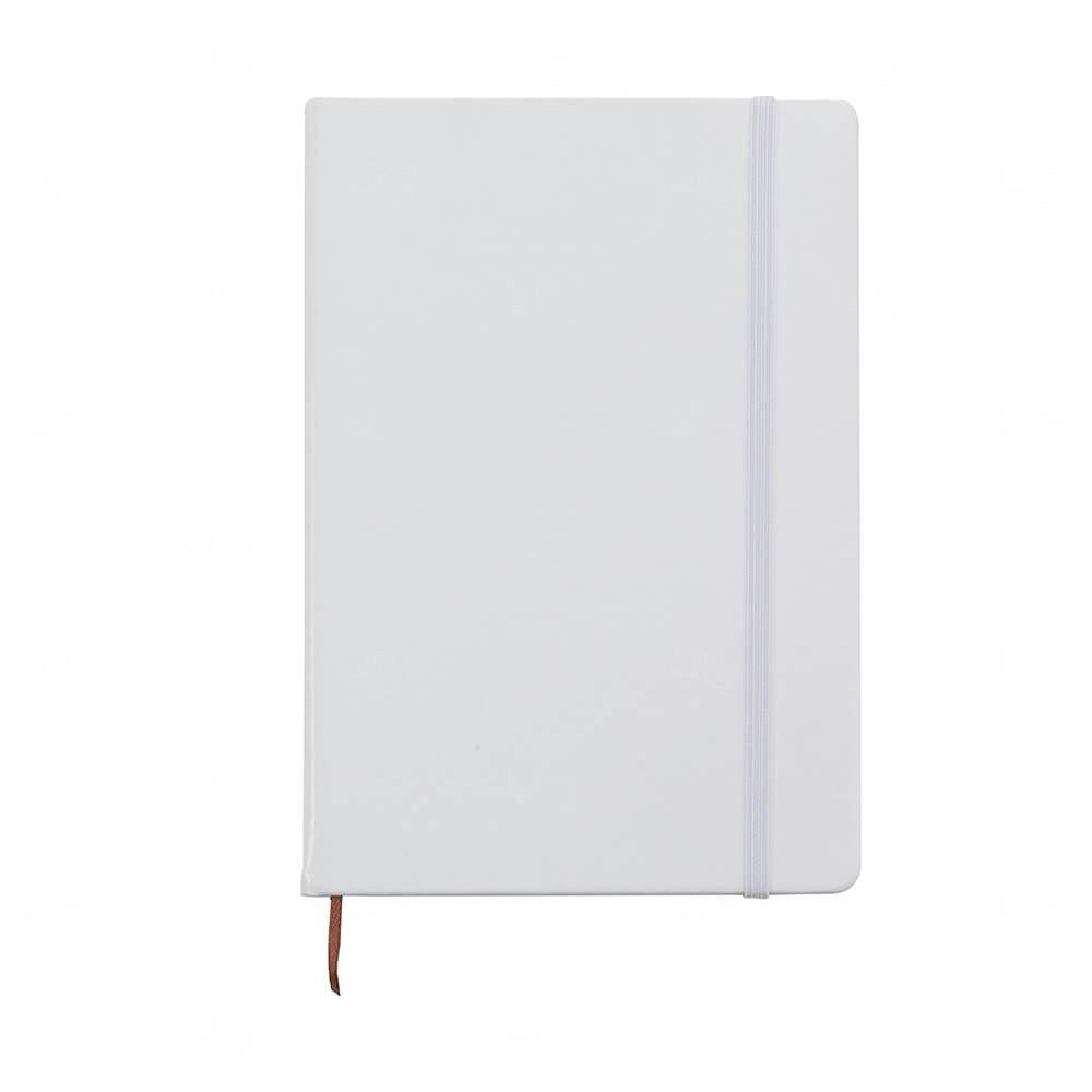 Caderneta Tipo Moleskine de Couro Sintético Personalizada Branco