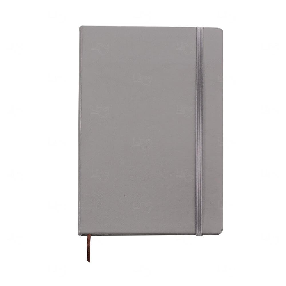 Caderneta Tipo Moleskine de Couro Sintético Personalizada Cinza