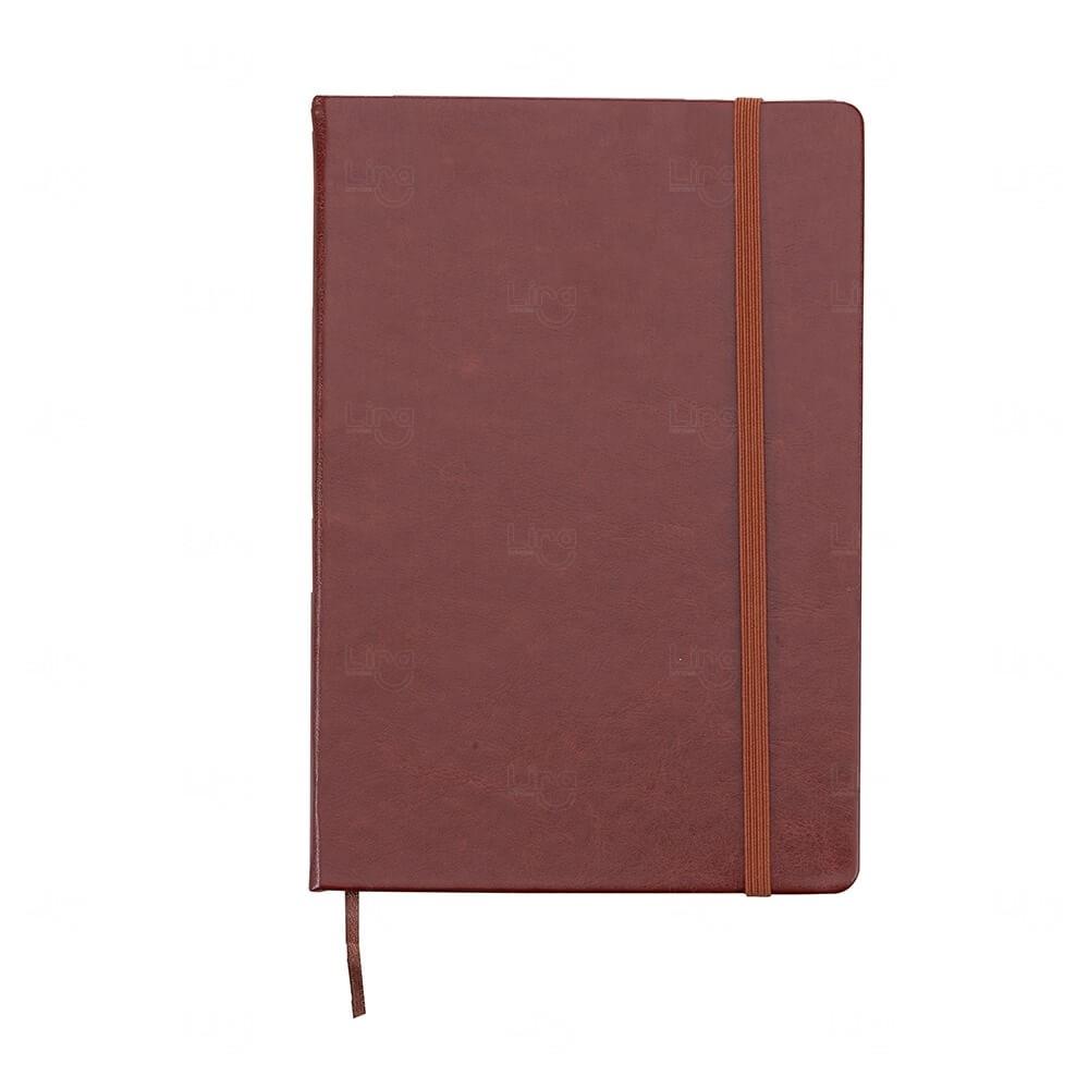 Caderneta Tipo Moleskine de Couro Sintético Personalizada Marrom