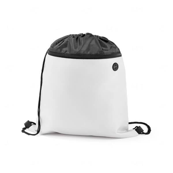 Sacochila com Bolso Frontal Personalizada Branco