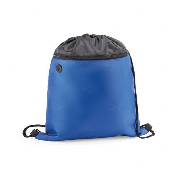 Sacochila com Bolso Frontal Personalizada Azul