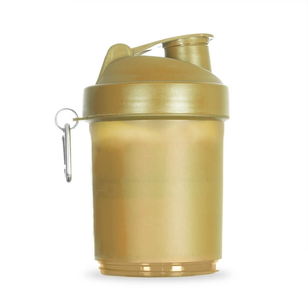 Coqueteleira Porta Suplementos Personalizada - 400ml Dourado