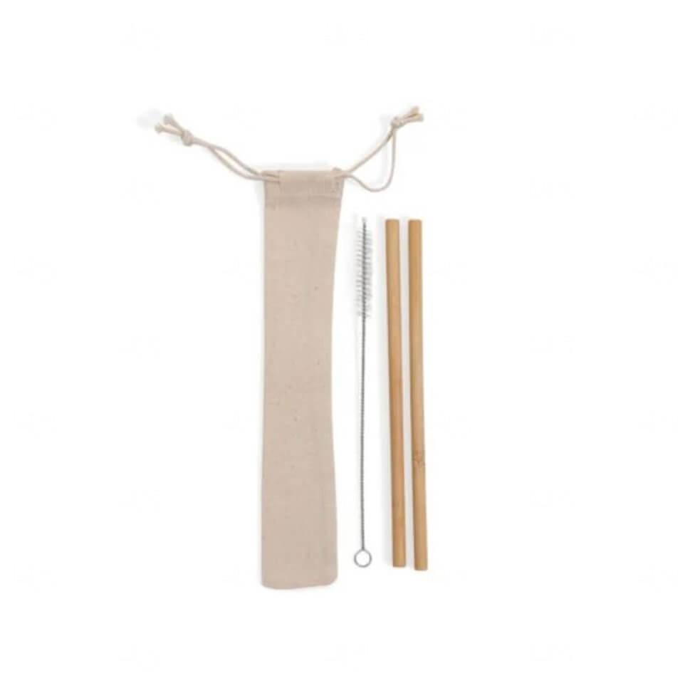 Kit De 2 Canudos C/ Escova e Embalagem De Algodão Personalizado