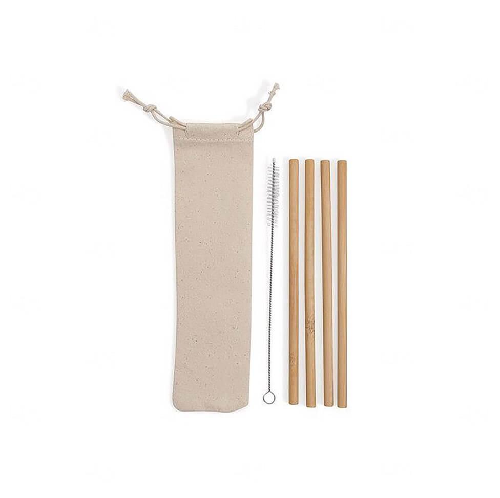 Kit De 4 Canudos C/ Escova e Embalagem De Algodão Personalizado