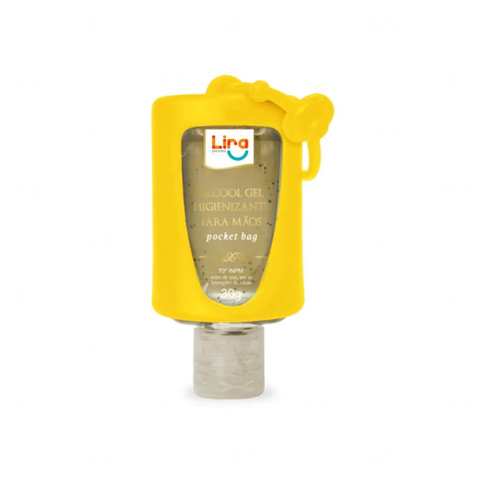 Álcool Gel Com Suporte Silicone Personalizado - 30ml Amarelo