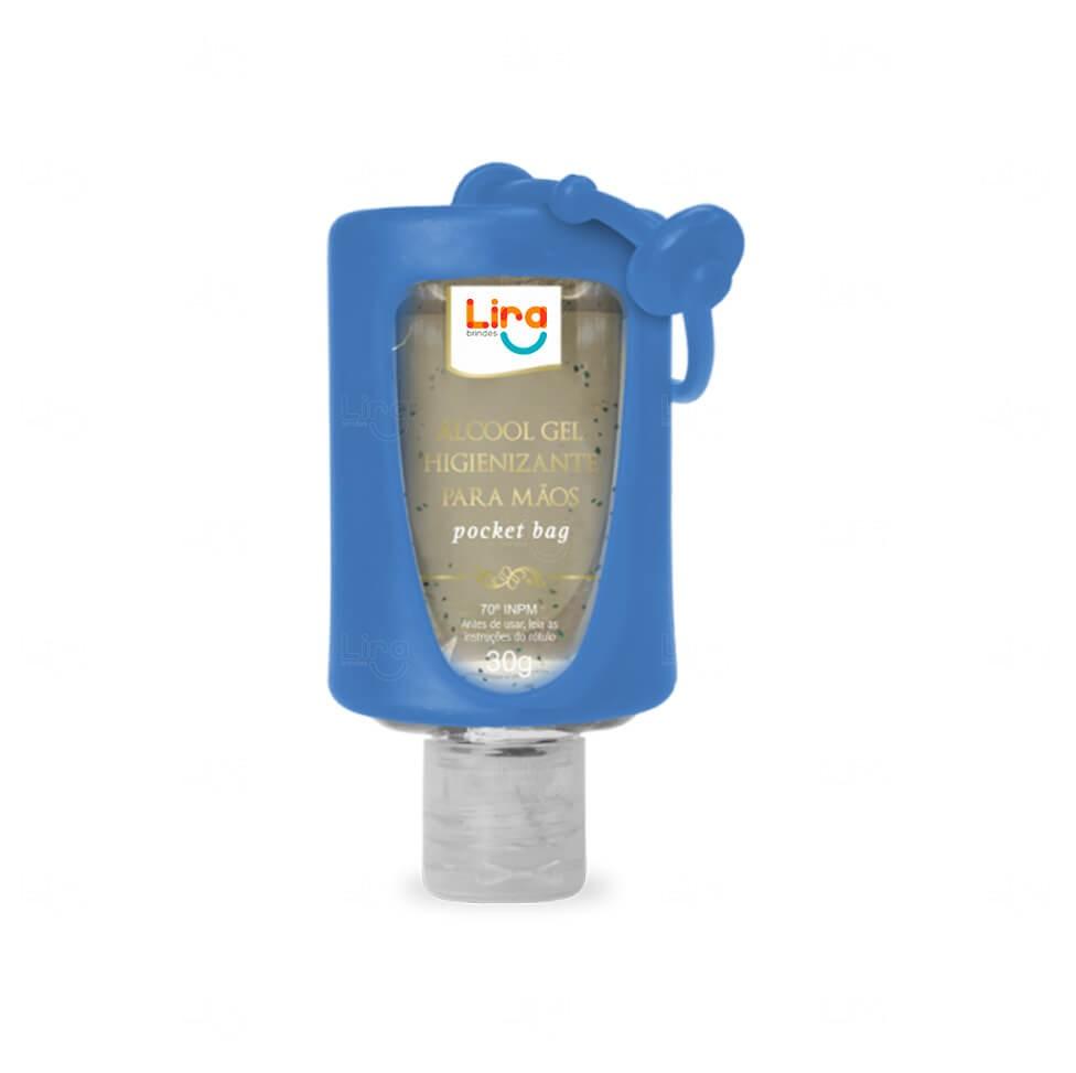 Álcool Gel Com Suporte Silicone Personalizado - 30ml Azul