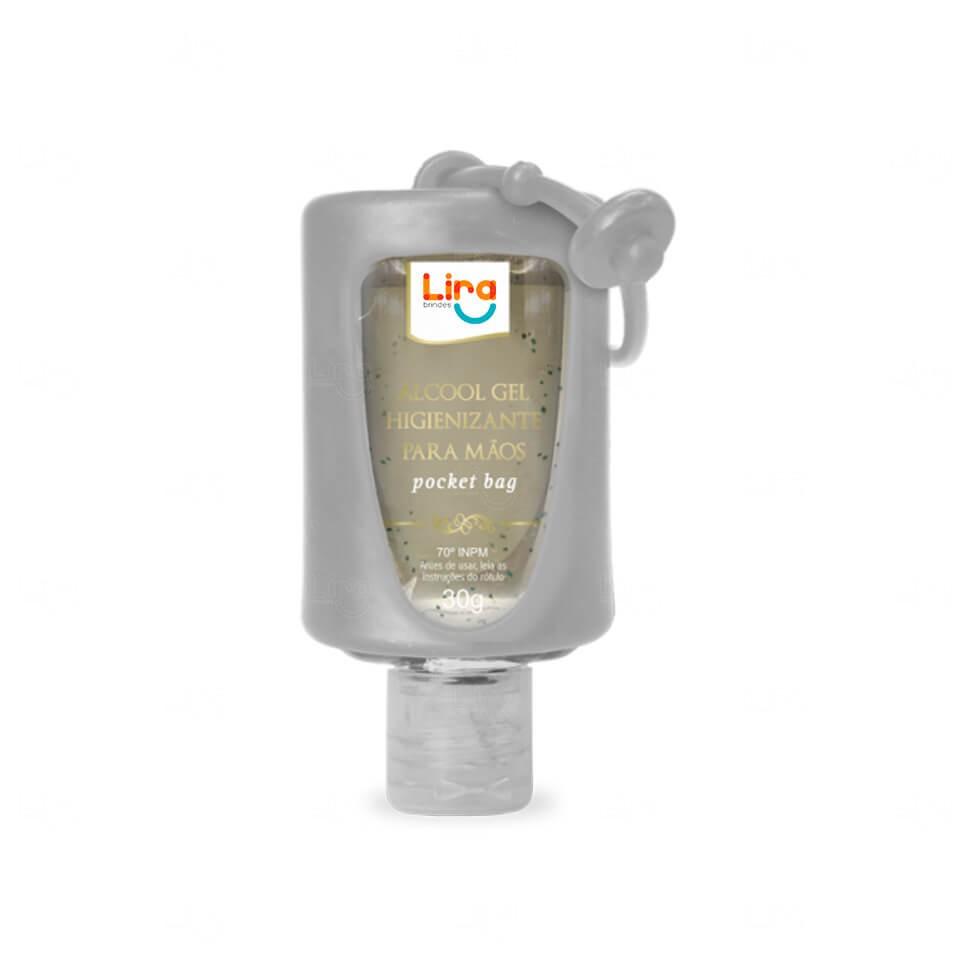 Álcool Gel Com Suporte Silicone Personalizado - 30ml Cinza