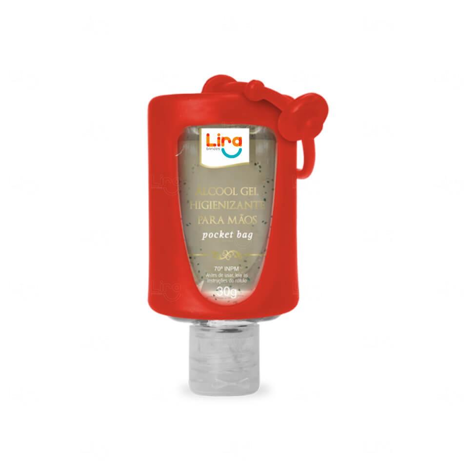Álcool Gel Com Suporte Silicone Personalizado - 30ml Vermelho