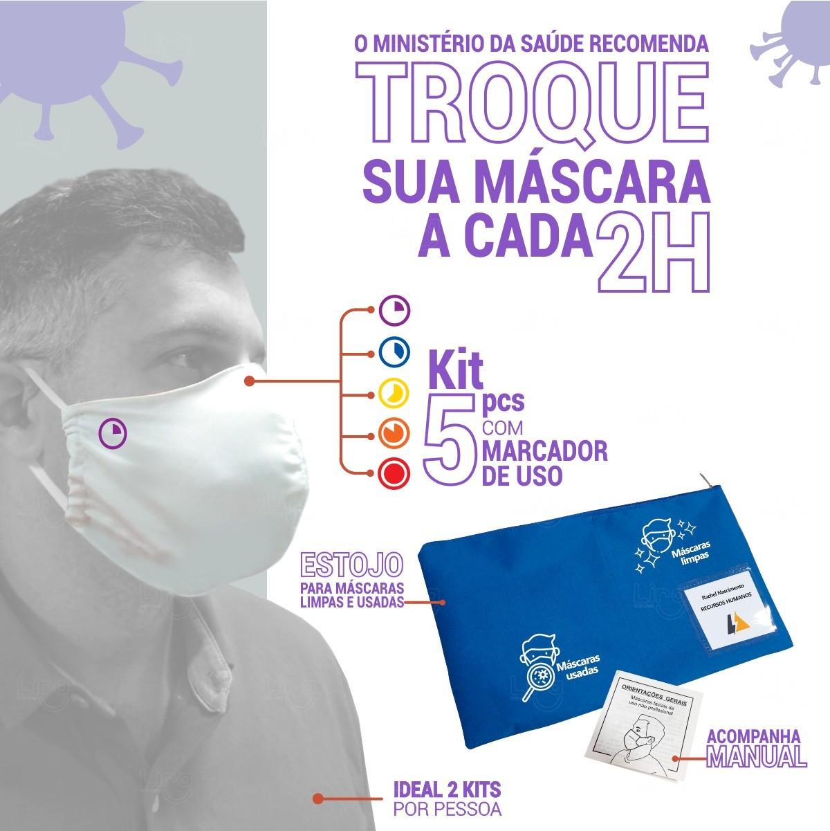 Kit Máscaras Com Marcador de Uso Personalizado - 5 Peças
