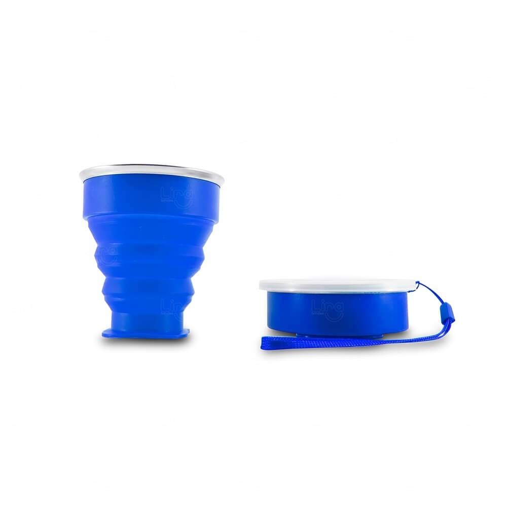 Copo Retrátil de Silicone Personalizado - 200ml Azul