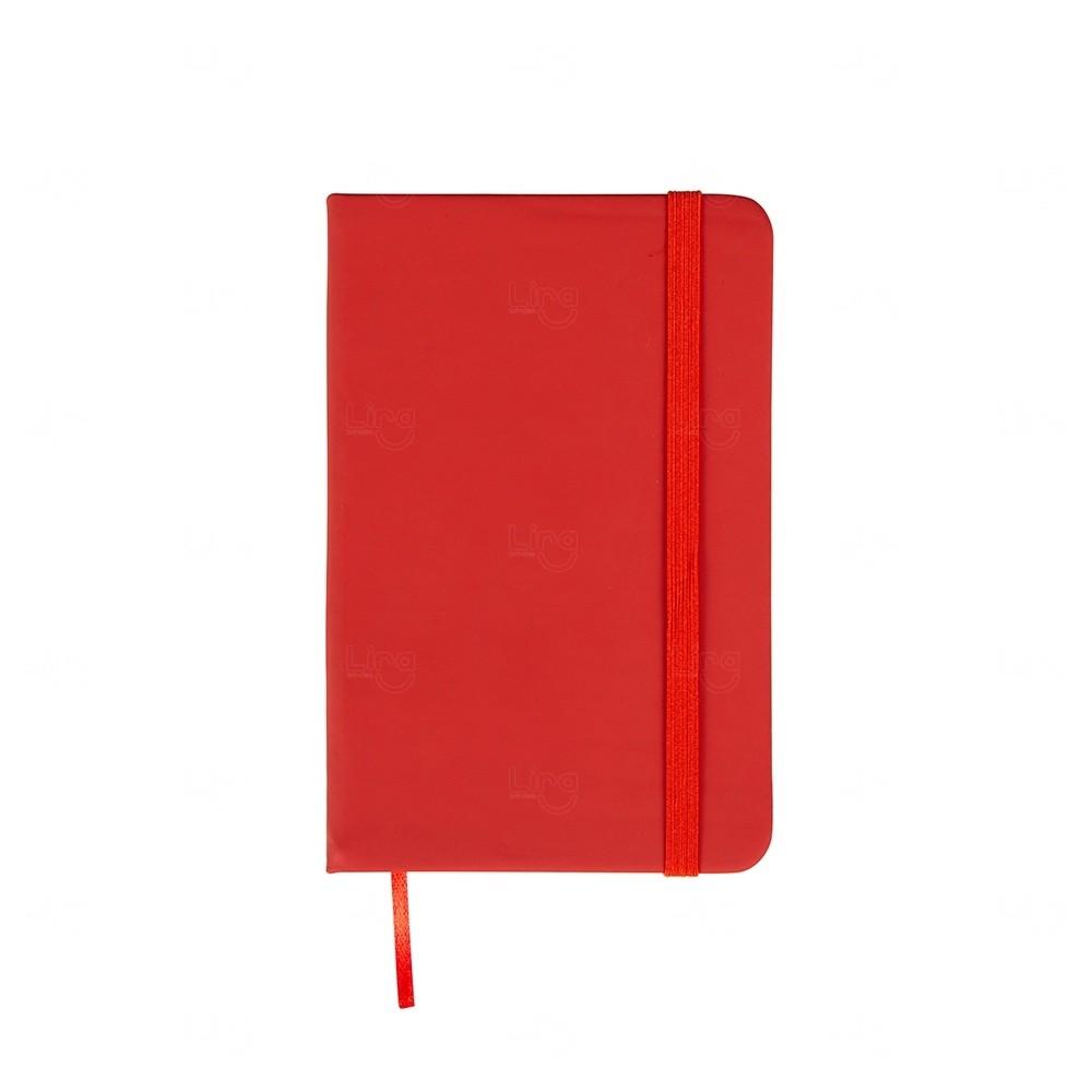 Caderneta  Emborrachada Tipo Moleskine Personalizada Vermelho