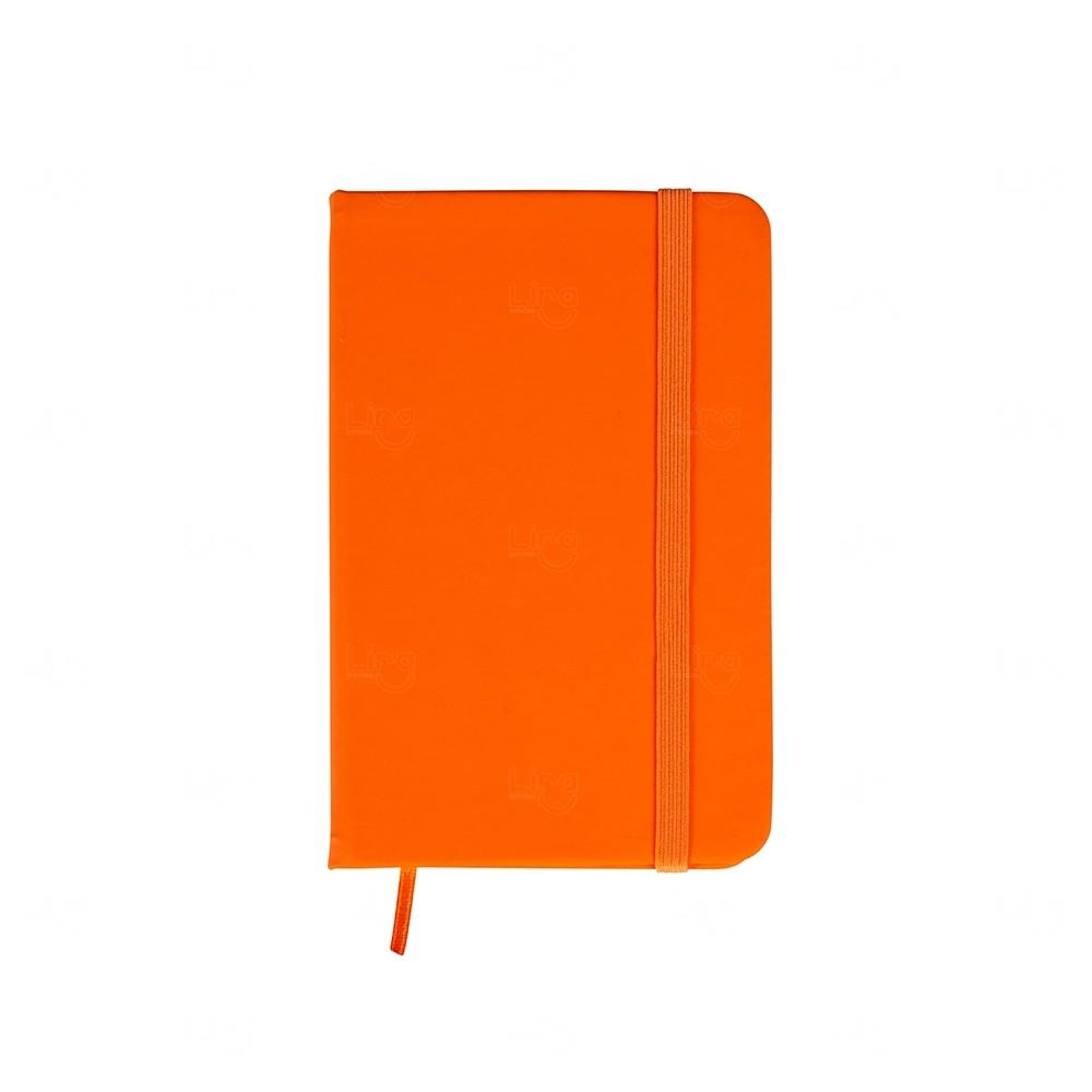 Caderneta  Emborrachada Tipo Moleskine Personalizada Laranja