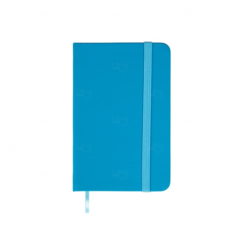 Caderneta  Emborrachada Tipo Moleskine Personalizada Azul Claro