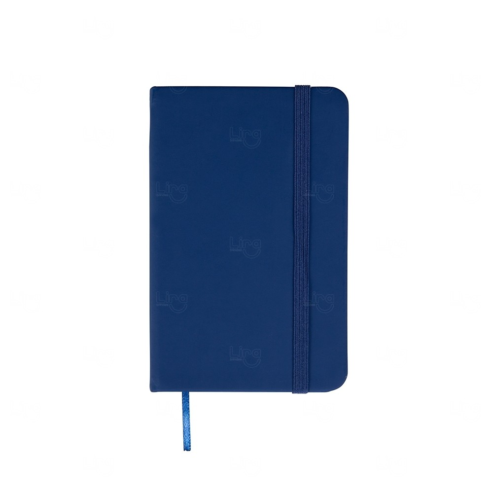 Caderneta Tipo Moleskine Personalizada Azul Marinho