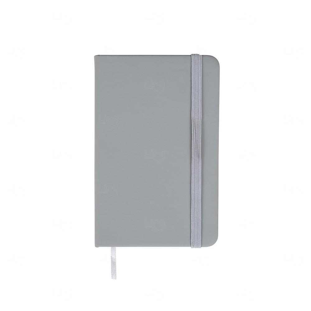 Caderneta  Emborrachada Tipo Moleskine Personalizada Cinza