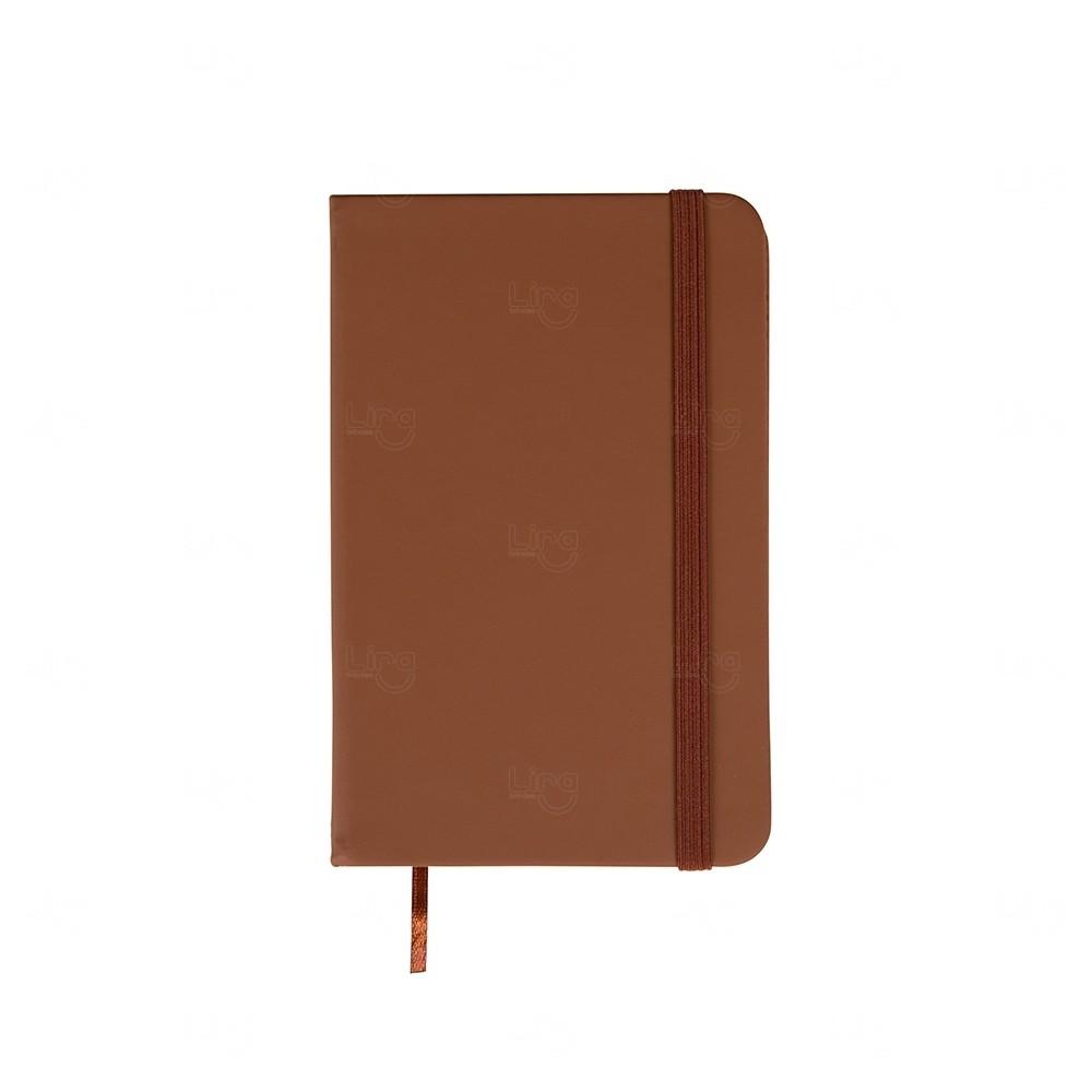 Caderneta  Emborrachada Tipo Moleskine Personalizada Marrom