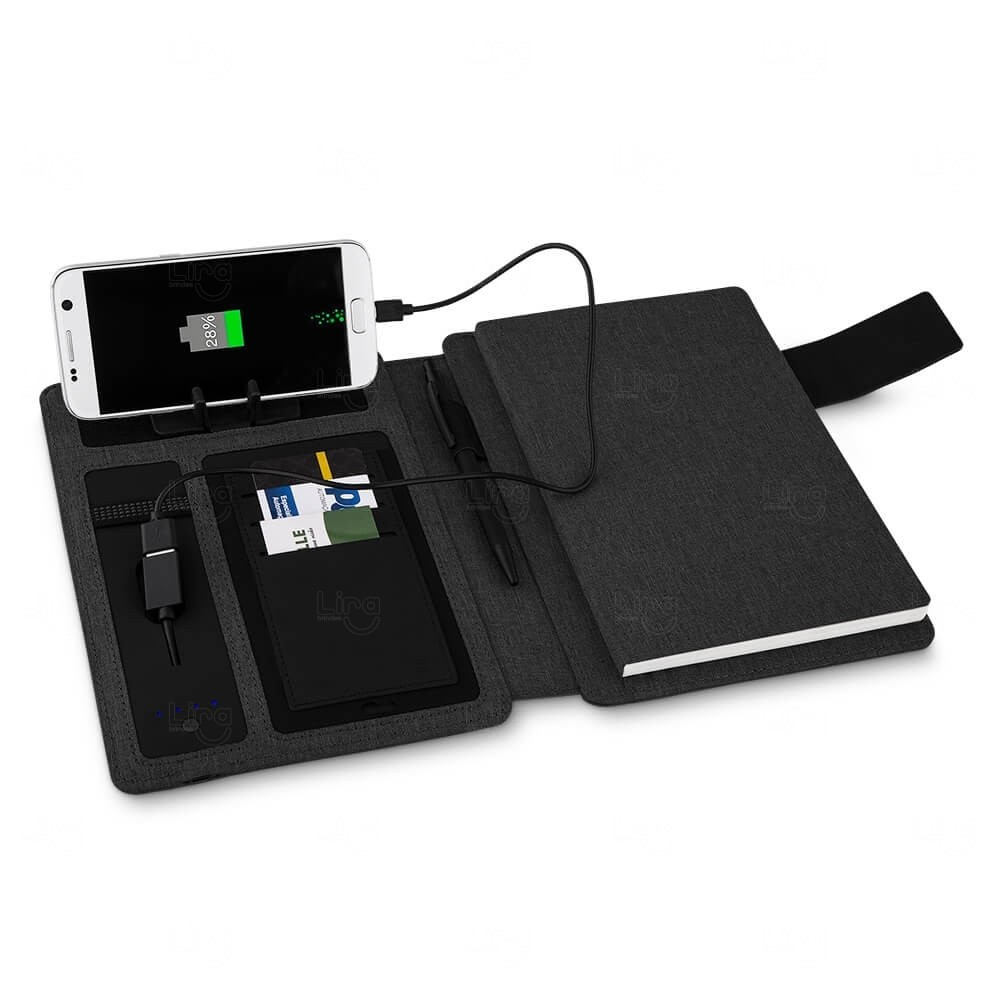 Caderno PowerBank Personalizado - 4.000 mAh Preto