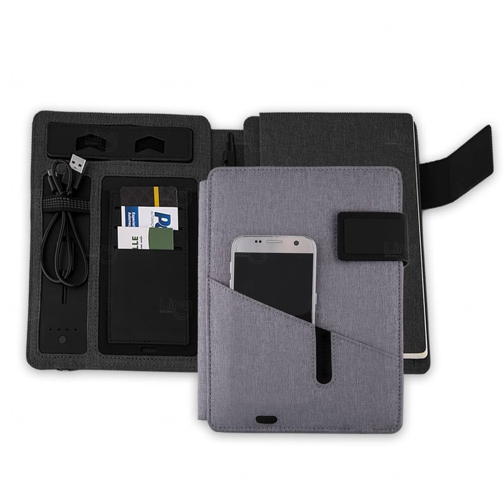 Caderno PowerBank Personalizado - 4.000 mAh Cinza