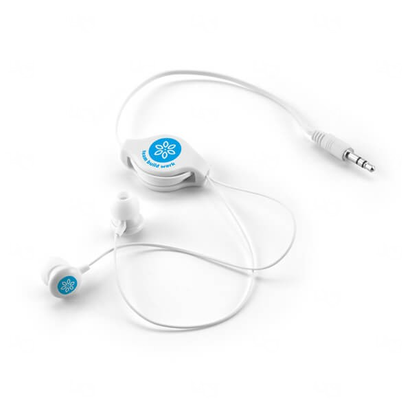 Fone de Ouvido Retrátil Personalizado Branco