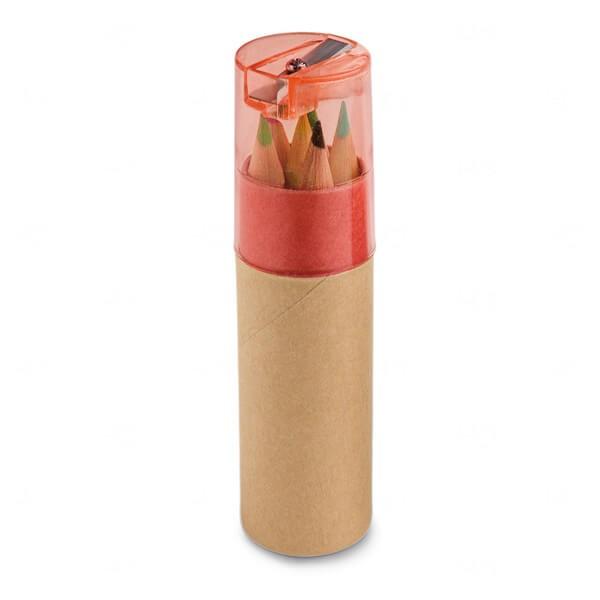 Caixa De Cartão Com 6 Mini Lápis De Cor Personalizado Vermelho
