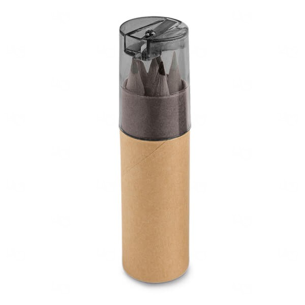 Caixa De Cartão Com 6 Mini Lápis De Cor Personalizado Preto