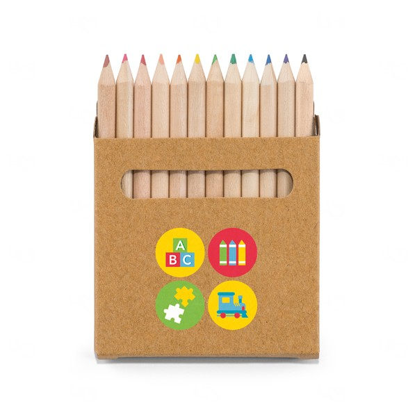 Caixa Com 12 Mini Lápis De Cor Personalizado
