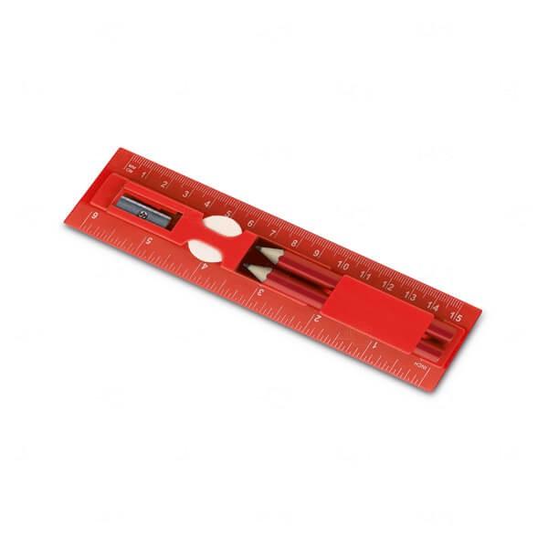 Kit Para Escrita Personalizado 15cm Vermelho