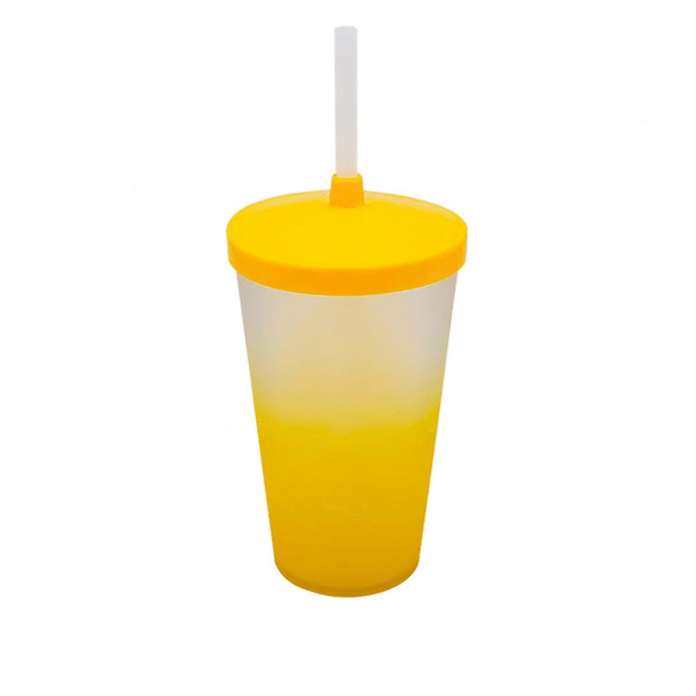 Copo com Tampa e Canudo Personalizado Degradê - 500 ml Amarelo