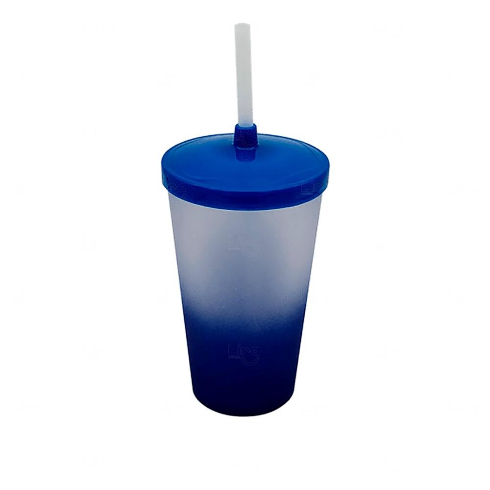 Copo com Tampa e Canudo Personalizado Degradê - 500 ml Azul Marinho