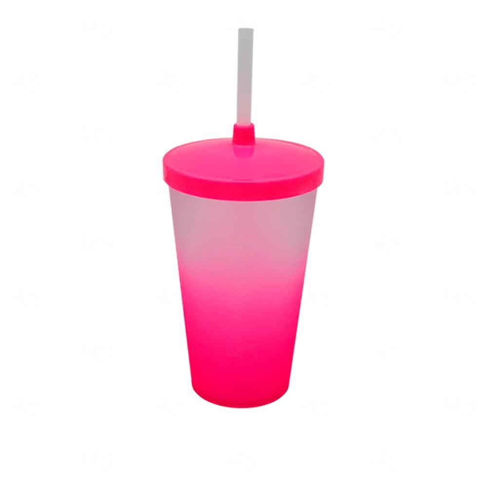 Copo com Tampa e Canudo Personalizado Degradê - 500 ml Rosa
