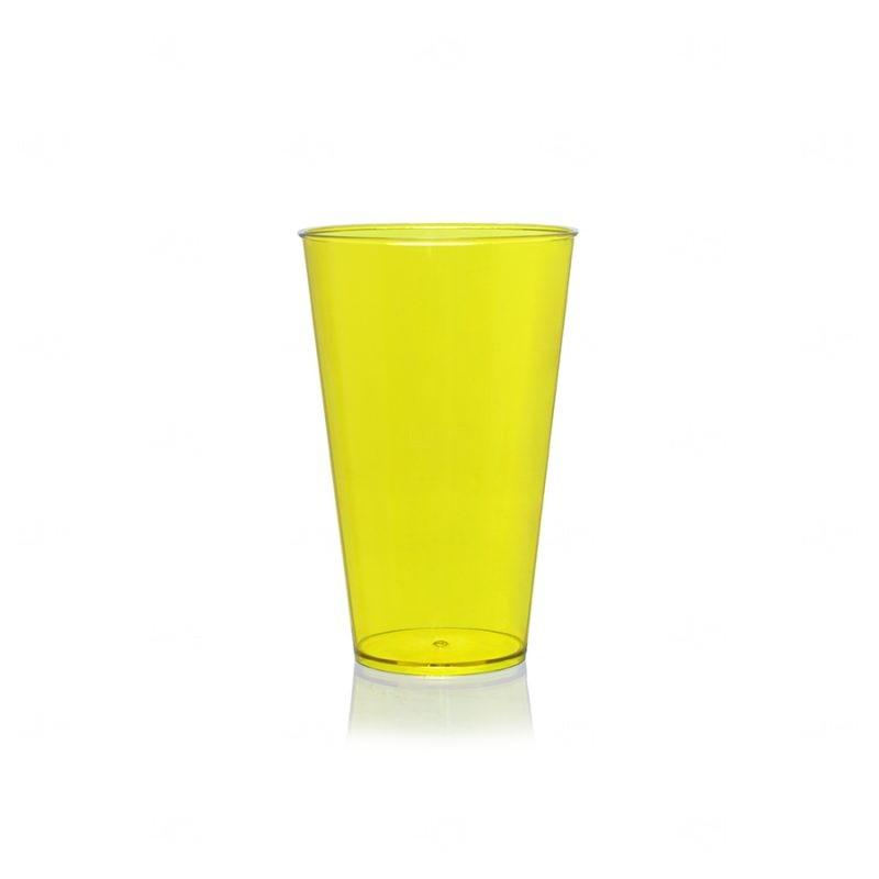 Copo Mega Drink Personalizado - 550 ml (Leitoso ou Cristal) Amarelo Fluorescente