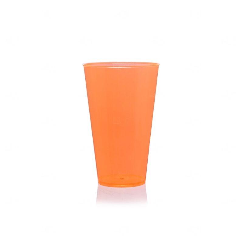 Copo Mega Drink Personalizado - 550 ml (Leitoso ou Cristal) Laranja Fluorescente