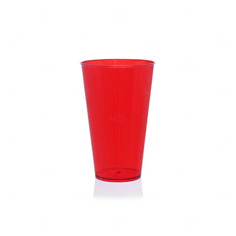 Copo Mega Drink Personalizado - 550 ml (Leitoso ou Cristal) Vermelho