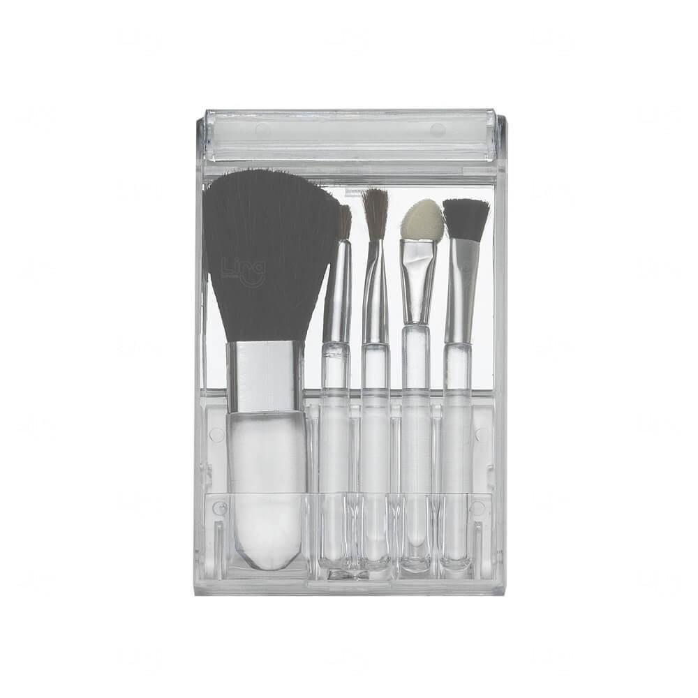 Kit Pincel com Estojo Plástico Personalizado - 5 peças Transparente