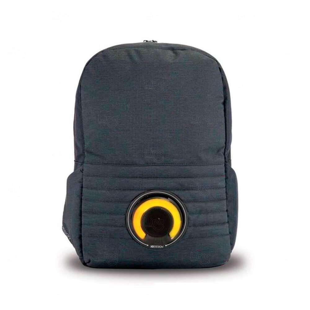 Mochila P/ Notebook Com Caixa de Som Led Personalizada Amarelo