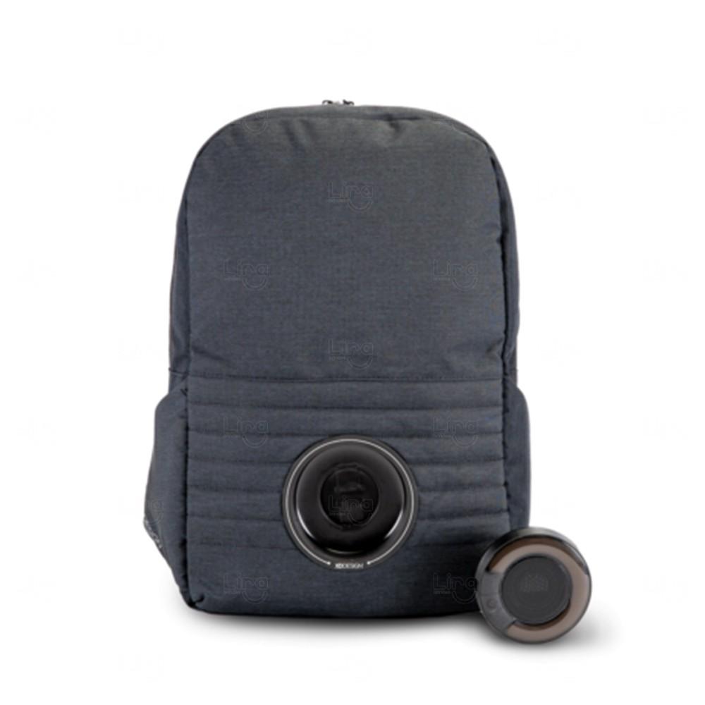Mochila P/ Notebook Com Caixa de Som Led Personalizada Preto