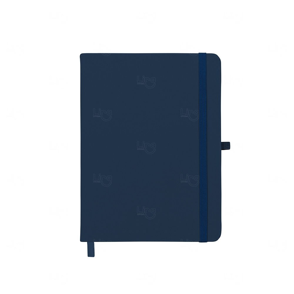 Caderneta tipo Moleskine com Porta Caneta Personalizada Azul Marinho