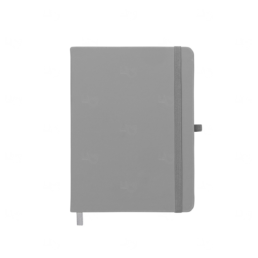 Caderno Moleskine C/ Porta Caneta Personalizado - 17,7x13,3cm Cinza