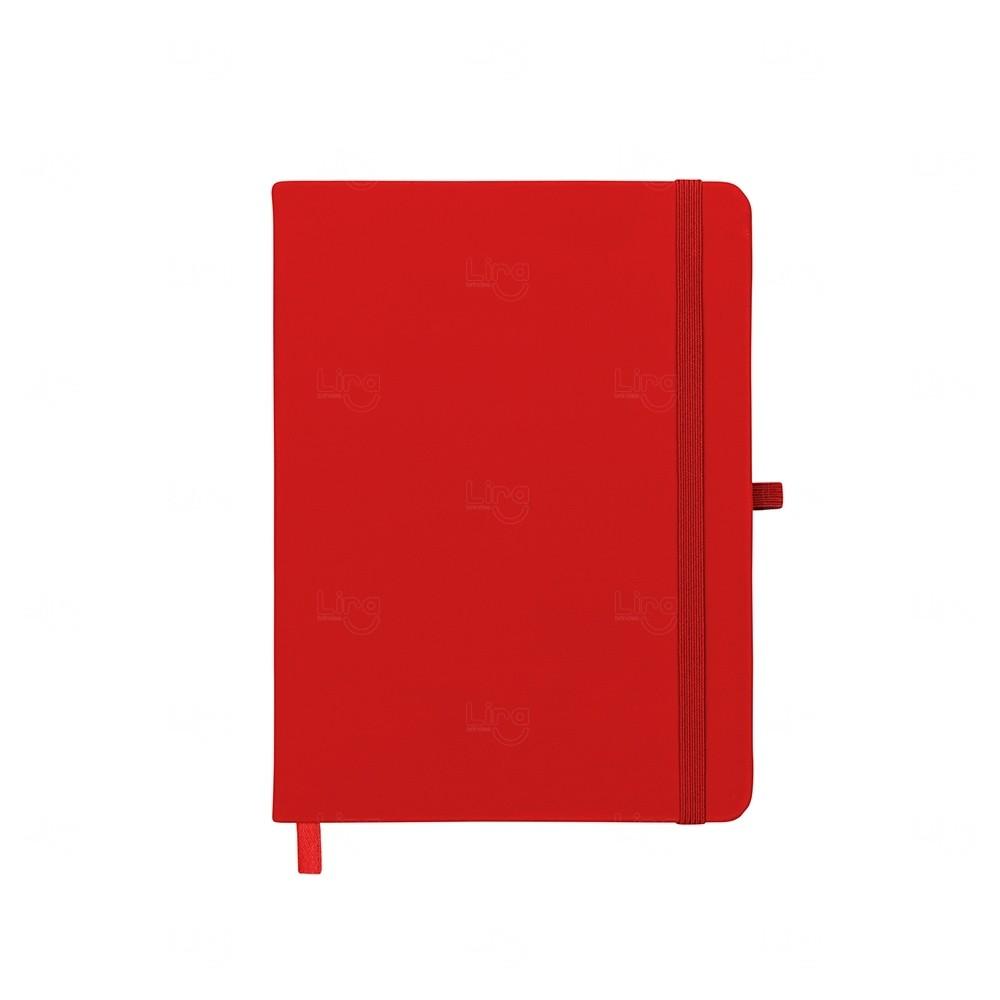 Caderneta tipo Moleskine com Porta Caneta Personalizada Vermelho