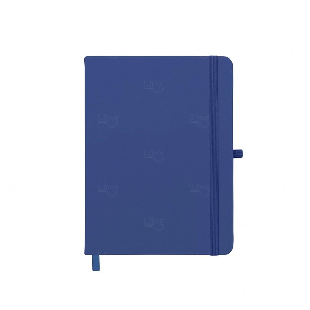 Caderneta tipo Moleskine com Porta Caneta Personalizada Azul