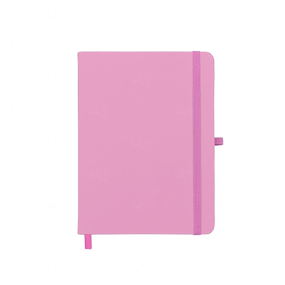 Caderneta tipo Moleskine com Porta Caneta Personalizada Rosa Claro