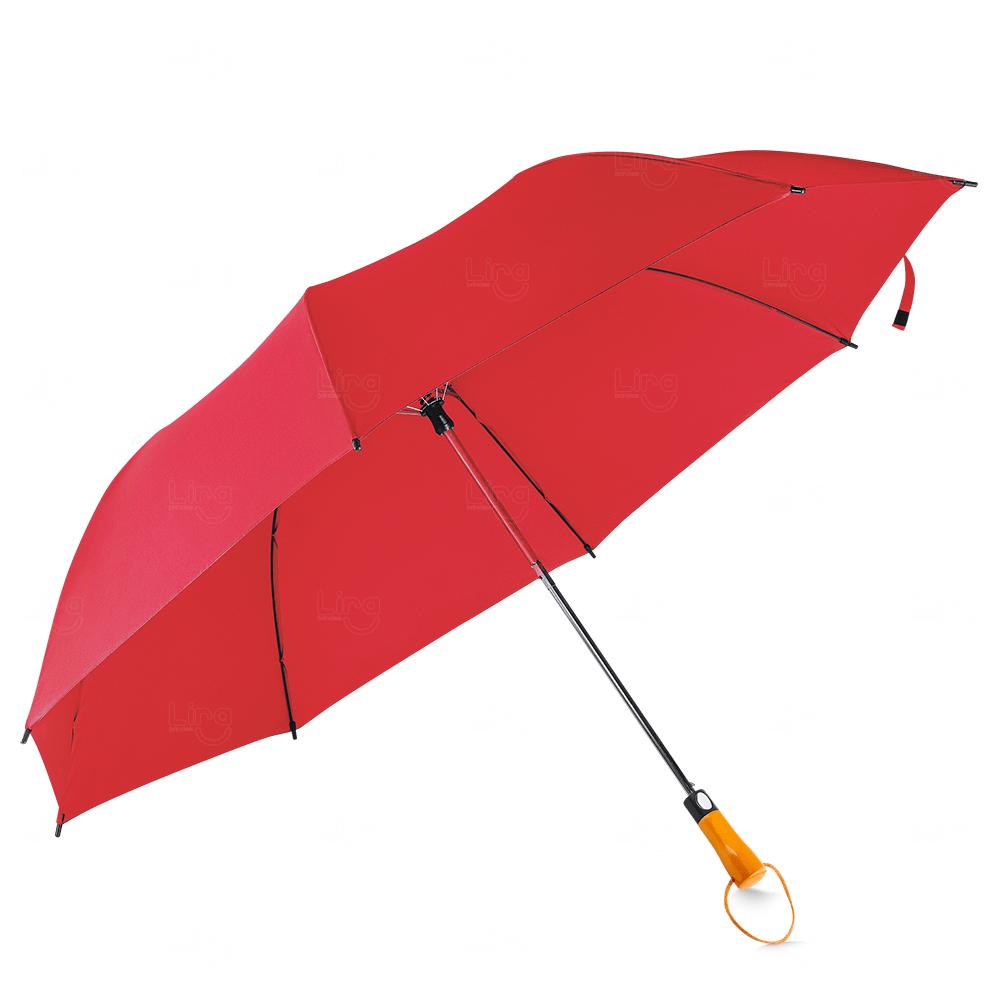 Guarda-Chuva C/ Cabo Madeira Personalizado Vermelho