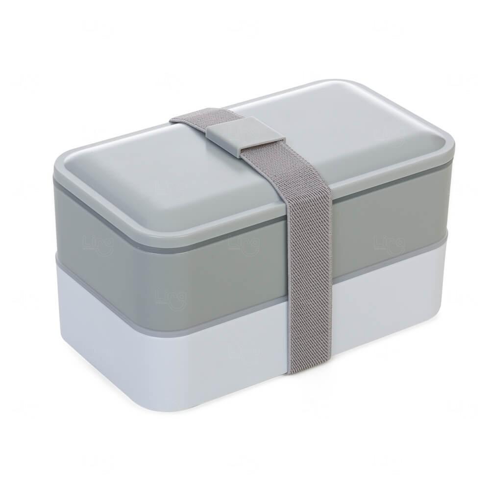 Marmita Plástica com Talheres Personalizado Cinza