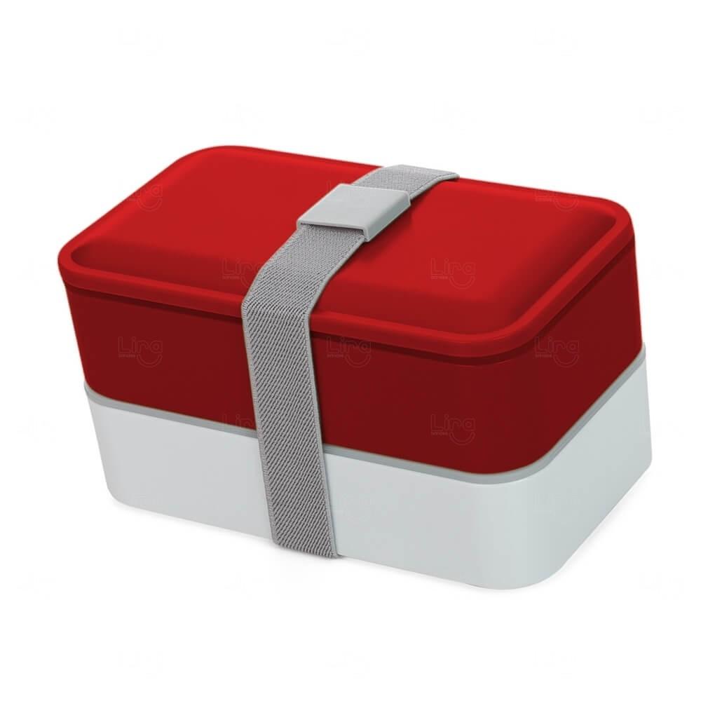 Marmita Plástica com Talheres Personalizado Vermelho