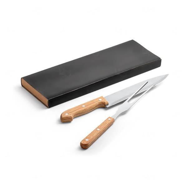 Kit Churrasco Inox e Bambu Personalizado - 2 peças