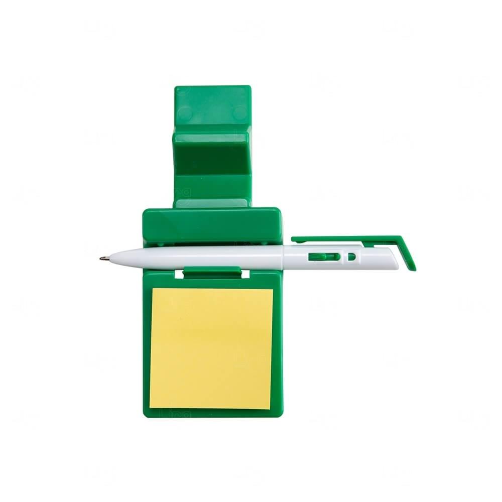 Suporte p/ Celular com Caneta e Bloquinho Personalizado Verde