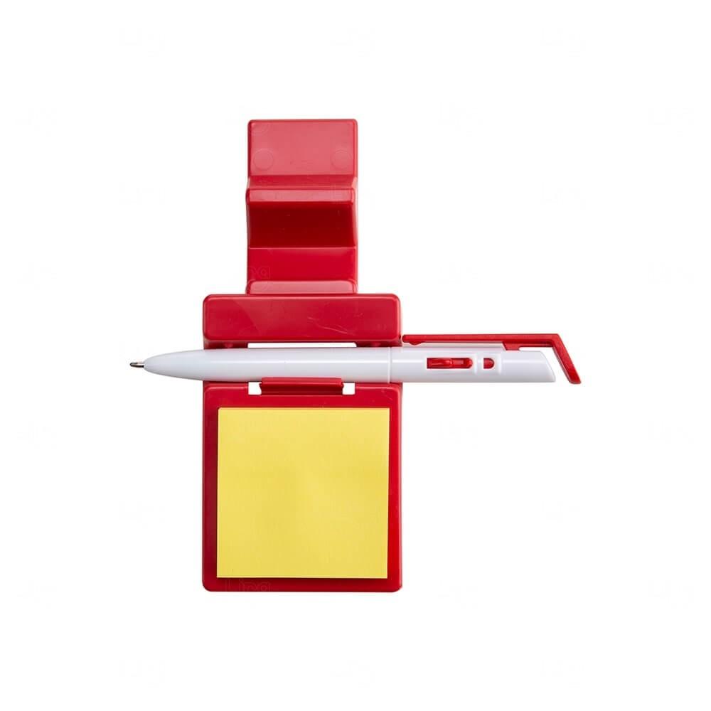 Suporte p/ Celular com Caneta e Bloquinho Personalizado Vermelho