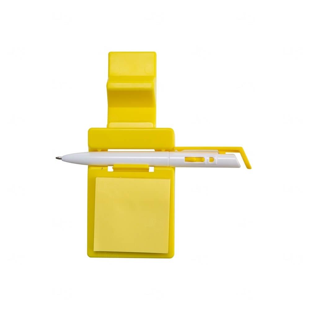 Suporte p/ Celular com Caneta e Bloquinho Personalizado Amarelo
