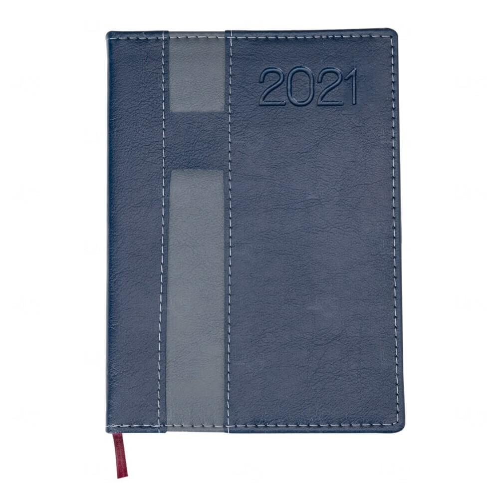 Agenda 2021 De Couro Sintético Personalizada - 20 x 14,9 cm Azul